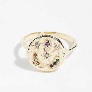 Celestial Medallion RING Gold Vermeil Gemstone NEW